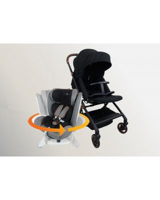 Royal Kiddy 360 Onyx Stroller + 360 Beyond ISOFIX Car Seat + 3 in 1 Night Angel Baby Cot