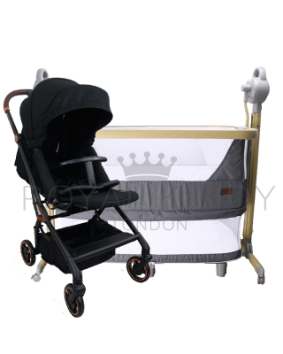 RK 360 Onyx Double Facing Stroller + RK 5 In 1 Night Angel Premium Baby Cot/ Bedside Cot Automatic
