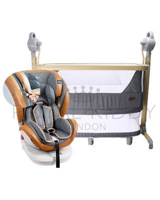 RK 5 In 1 Night Angel Premium Baby Cot/Bedside Cot Auto Swing + RK 360 Prime Isofix Carseat Zipper Edition (Prime Z)
